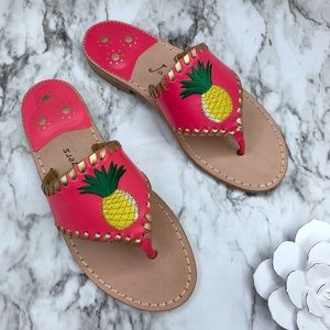 Jack Rogers pink pineapple thong leather sandals